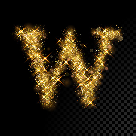 Gold glittering letter W on black background