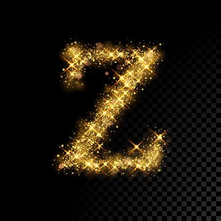 Or lettre zinguée Z sur fond noir