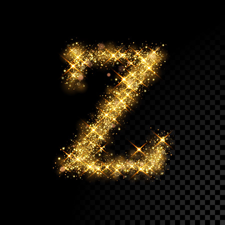 Gold glittering letter Z on black background Illustration
