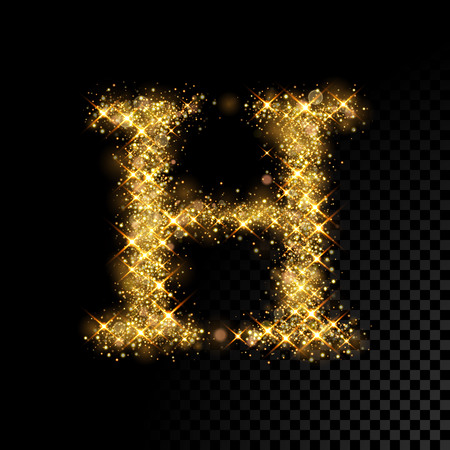 Gold glittering letter H on black background