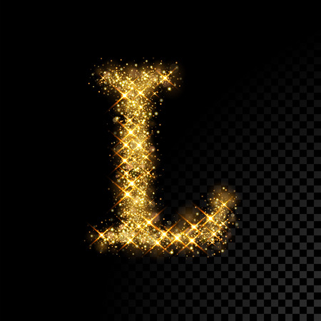Gold glittering letter L on black background Иллюстрация