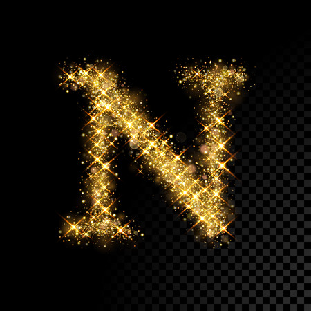 Gold glittering letter N on black background 向量圖像