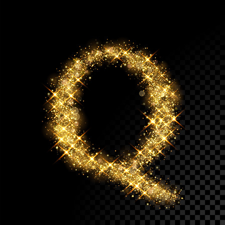 Gold glittering letter Q on black background