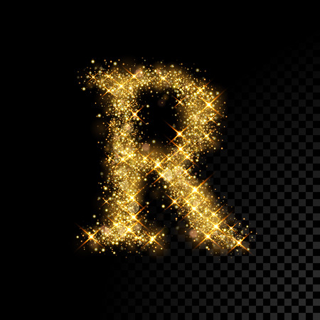 Gold glittering letter R on black background