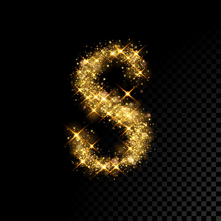 Gold glittering letter S on black background