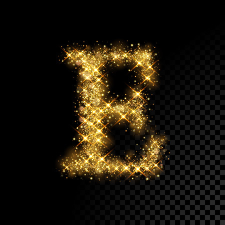 Gold glittering letter E on black background 向量圖像