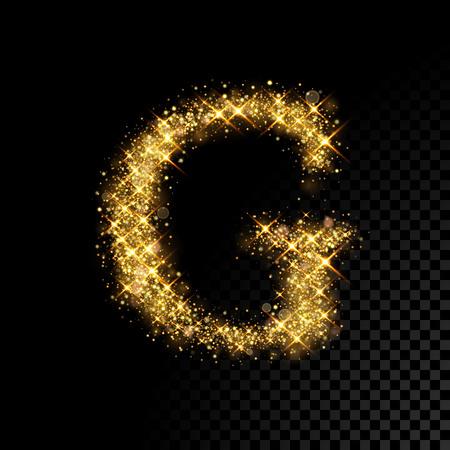 黒い背景に、きらびやかな黄金の文字 G