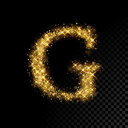Gold glittering letter G on black background Reklamní fotografie - 76868181