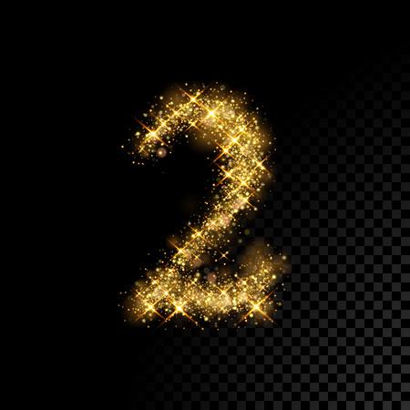 Gold glittering number Two 2. Vector shining golden font figure lettering of sparkles on black background