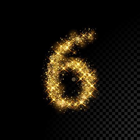 Gold glittering number Six 6. Vector shining golden font figure lettering of sparkles on black background