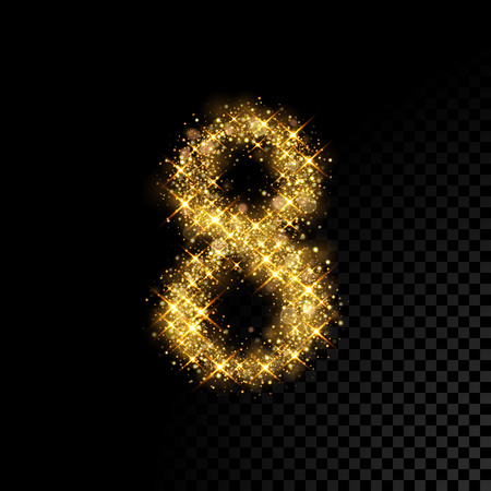 Gold glittering number Eight 8. Vector shining golden font figure lettering of sparkles on black background 矢量图像