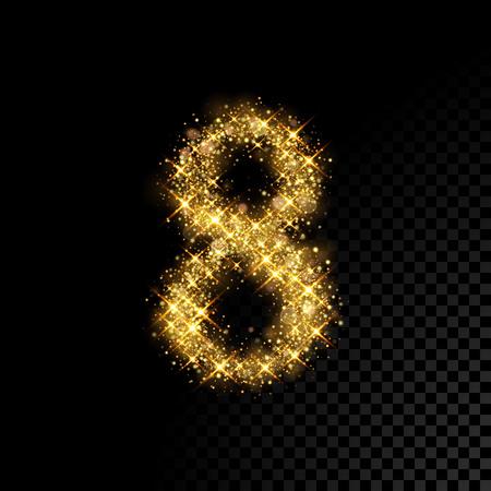 Gold glittering number Eight 8. Vector shining golden font figure lettering of sparkles on black background Illustration