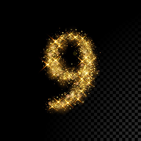Gold glittering number Nine 9. Vector shining golden font figure lettering of sparkles on black background Illustration