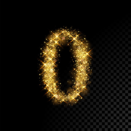 Gold glittering number 0 Zero. Vector shining golden font figure lettering of sparkles on black background