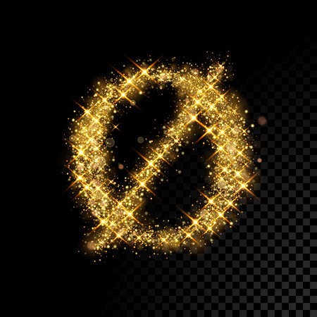 Gold glittering letter O minuscule symbol. Vector shining golden Danish font lettering of sparkles on black background.