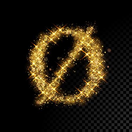 Gold glittering letter O minuscule symbol. Vector shining golden Danish font lettering of sparkles on black background.