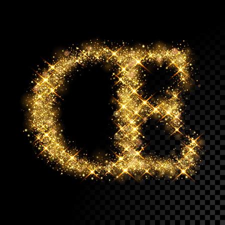 ligature: Gold glittering French or Danish letter OE ligature. Vector shining golden font lettering of sparkles on black background.