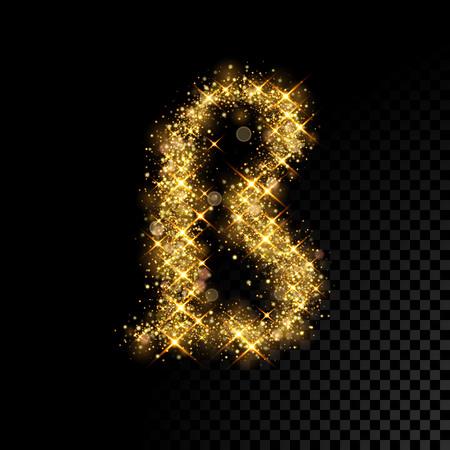 Gold glittering letter S Eszett ligature. Vector shining golden German font lettering of sparkles on black background. Illustration