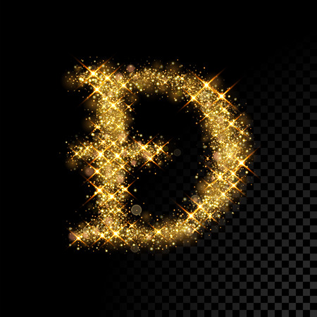 Gold glittering letter D dyet. Vector shining golden font lettering of sparkles on black background. Illustration