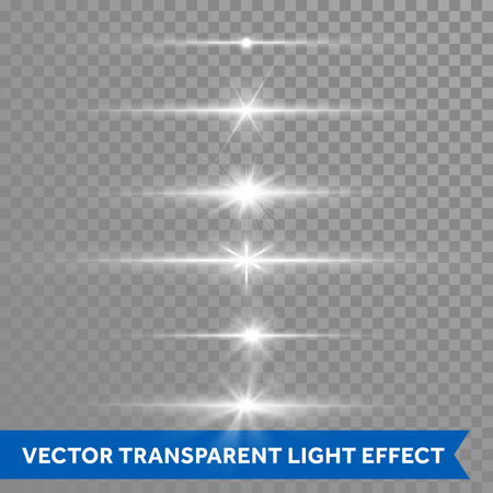 outburst: Light shine or starlight effect on transparent background. Vector isolated icons set of twinkling stars with lens flare or glittering sun beams and ray lines flash