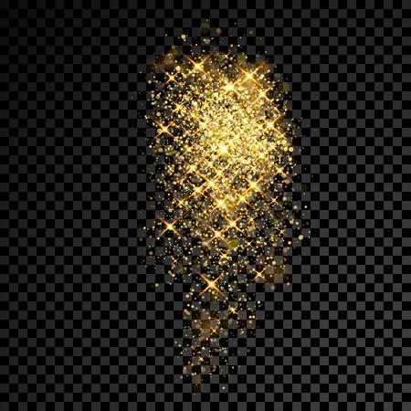 Złoty brokat błyszczy i lekkie cząsteczki na przezroczystym tle wektor
