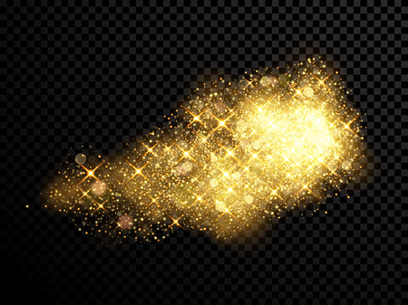 an outburst: Gold sparkling glitter and golden stars lights on vector black transparent background.