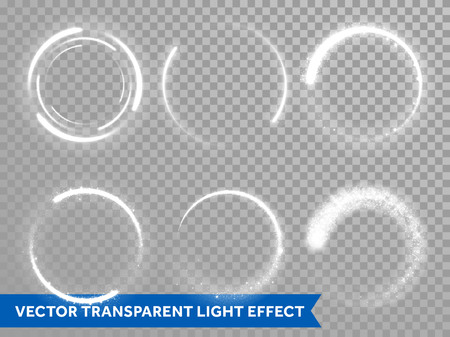 ring flash: Light circles of shining sun or starlight flashes on transparent background. Vector isolated set of round sparks or circular lights with glare effect for premium festive card or poster design