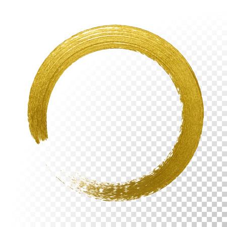 Círculo de brillo de oro con textura de cepillo de pintura de oro vector sobre fondo transparente de vector. Esmalte redondo de la pintura o sello áspero del anillo para la tarjeta festiva superior o el diseño del cartel