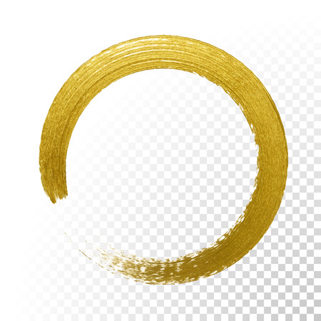 Gold glitter circle with vector golden paint brush texture on vector transparent background. Round paint smear or rough ring stamp for premium festive card or poster design Çizim