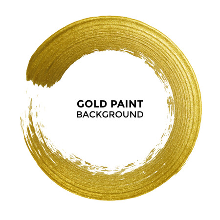 Gold circle with golden glitter texture on white background. Vector rough glittering ring or paint brush dab or stamp for premium festive card or poster design