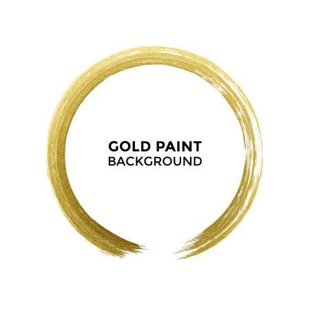 Gold glittering circle of paint brush dab. Vector round golden glitter texture smear or dab on transparent background for premium luxury festive card or poster design element