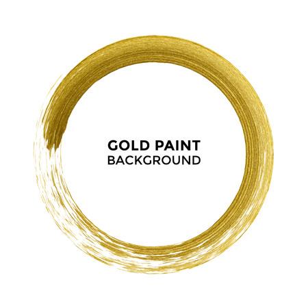 Gold paint brush circle of vector golden glitter texture on white luxury background. Glittering premium round circle for festive card or decor design element Vettoriali