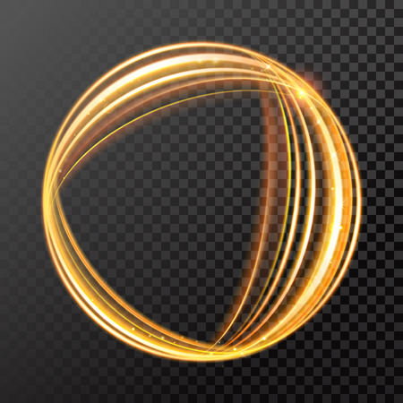 Gold light or fire flame abstract spherical circle of burning glow trail with sparkling glitter effect and sizzling glitter sparkles on vector transparent background
