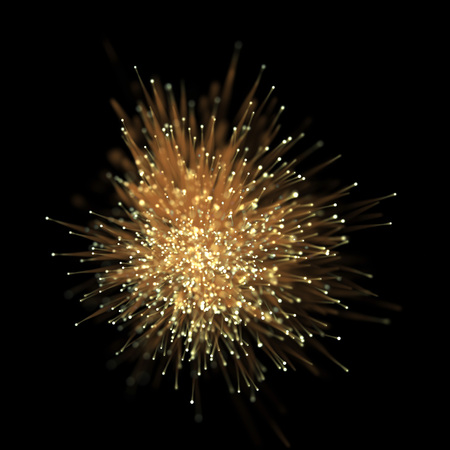 Abstract optical fiber glitter light effect on black background. Gold futuristic neon lines with particle star dust.