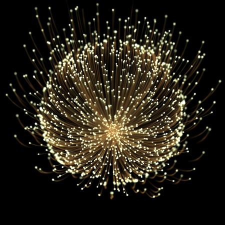 ゴールド ネオン線の効果をトレースと黒い背景にキラキラ星の塵粒子を輝く光線の金光の花。 写真素材 - 80509272