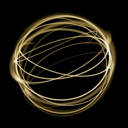 El círculo ligero del oro encadena el movimiento de la velocidad en esfera en fondo negro. Efecto de rastro de la cola del remolino de la chispa del brillo de la luz de neón de oro. Foto de archivo - 81147948
