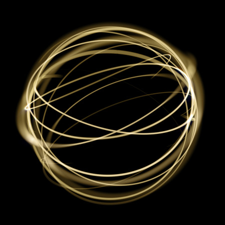 Gold light circle strings speed motion in sphere on black background. Golden neon light glitter sparkle swirl tail trace effect.