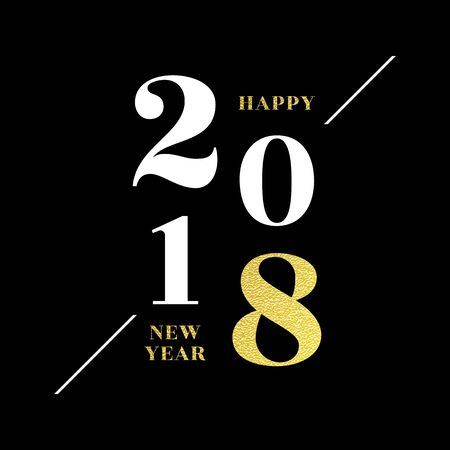 2018 Happy new year numbers and lettering for greeting card, calendar, poster, invitation on black background with gold glitter folio effect. Vector illustration. Illustration