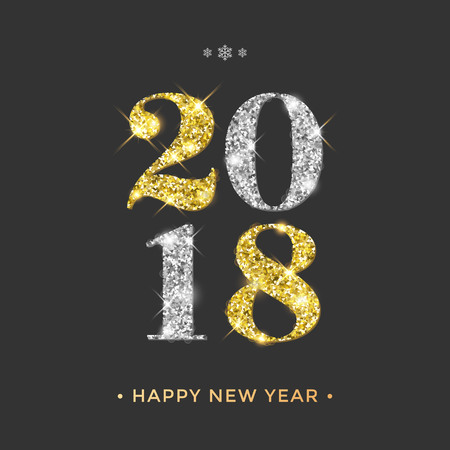 2018 Happy New Year vector background with gold and silver glitter numbers. Festive retro poster with shimmering texture.