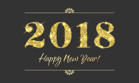 Gold 2018 Happy New Year vector black background. Golden glitter texture for New Year holiday greeting card, invitation, calendar, poster or banner.