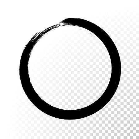 ベクトル黒インク サークル ペイント ストローク。抽象的な和風手描き黒円。  イラスト・ベクター素材