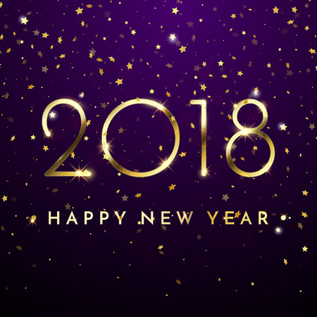 Gold glitter 2018 Happy New Year text on black sparkling background for holiday greeting card, calendar, poster, banner.