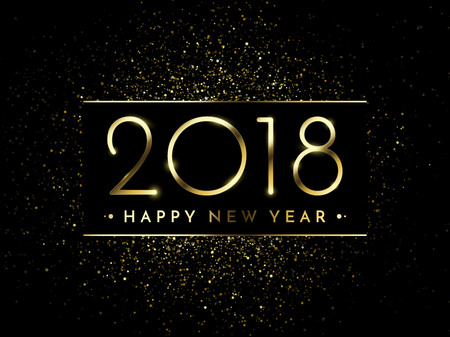 Vector 2018 New Year Black background with gold glitter confetti splatter texture. Festive premium design template for holiday greeting card, invitation, calendar poster, banner. Illustration