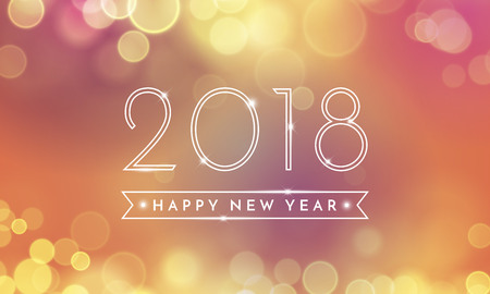 2018 Happy New Year Background texture with glitter fireworks. Vector gold glittering text and numbers for holiday greeting premium black card, festive invitation, calendar poster or promo banner. Illustration