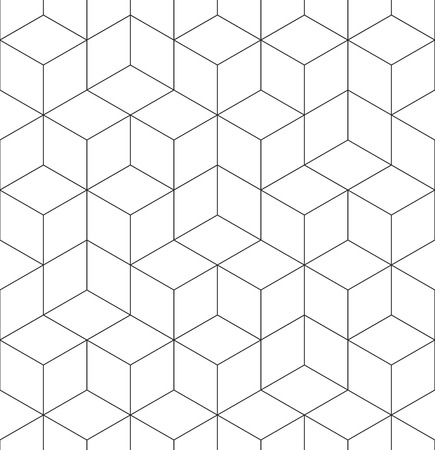 Pattern with abstract geometric cube texture. Seamless vector background of hexagonal cubic elements. Modern black and white simple grid Çizim