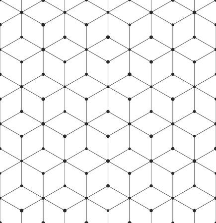 抽象的な幾何学的なキューブ テクスチャーとパターン。六角形の立方体要素のシームレスなベクトルの背景。モダンな黒と白のシンプルなグリッド