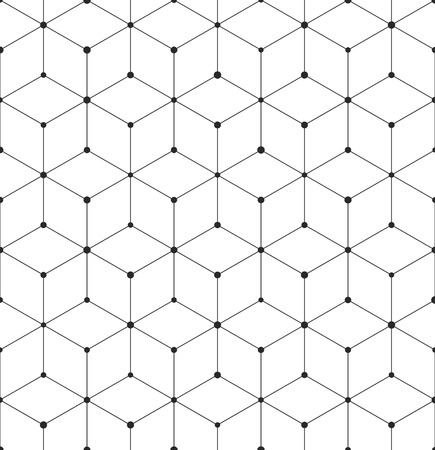 Modello con texture astratta geometrica cubo. Sfondo vettoriale senza soluzione di continuità di elementi cubici esagonali. Moderna griglia in bianco e nero Vettoriali