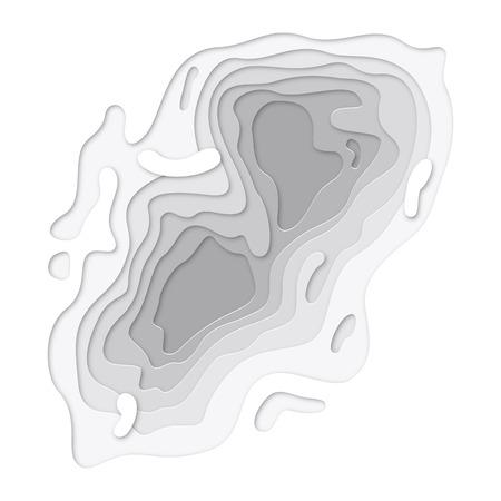 3D papercut lagen op witte gradiënt vector achtergrond ontwerp. Abstracte topografie textuur concept of glad origami vorm papier en vloeibare vloeistof. Kunst illustratie voor website template