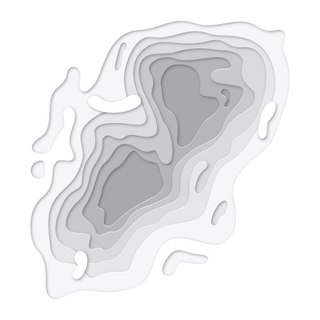 3D papercut layers on white gradient vector background design. Abstract topography texture concept or smooth origami shape paper and flowing liquid. Art illustration for website template Ilustração