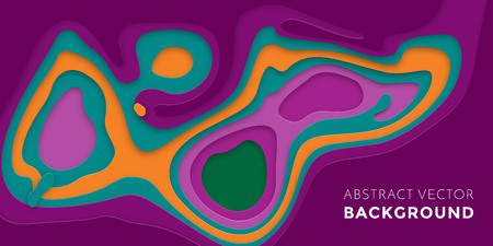 multi layered: 3D papercut multi color banner of gradient white paper layers. Vector background design of horizontal abstract smooth origami shape paper cut, flowing liquid texture concept for website template Illustration